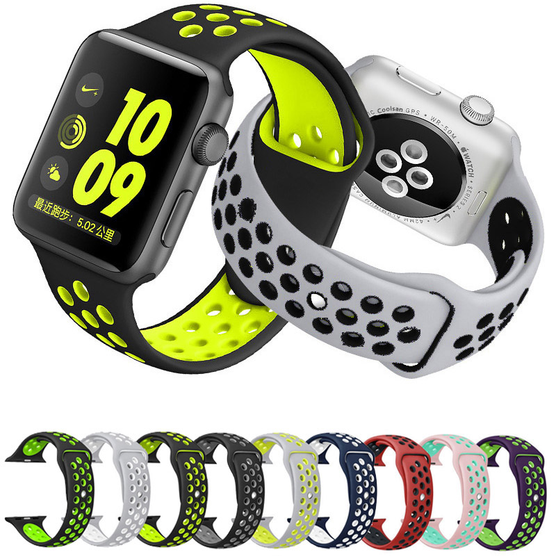 Newest Soft Silicone Replacement Sport Band 38mm 42mm For Apple Watch nike+Series Wrist Bracelet Strap For iWatch Sports Edition jansin 22mm watchband for garmin fenix 5 easy fit silicone replacement band sports silicone wristband for forerunner 935 gps