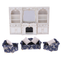 Luxury Miniature Wooden Display Cabinet Floral Sofa Couch 1/12 Dolls House Furniture Room Items Accessories