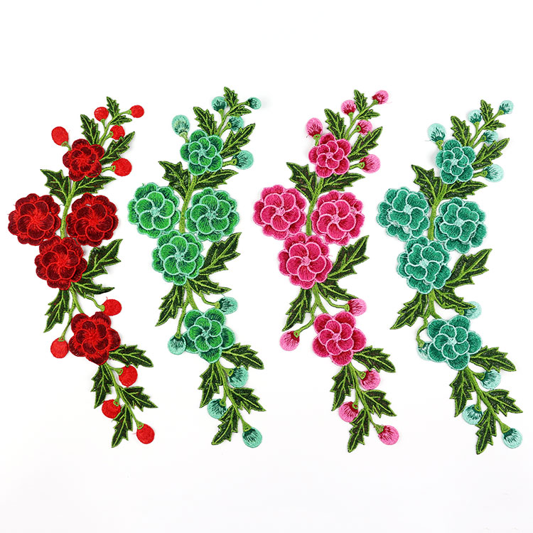 3Pcs/Lot Pink Red Blue Purple Fashion Flower Lace Applique embroidery flower design clothing sewing accessory