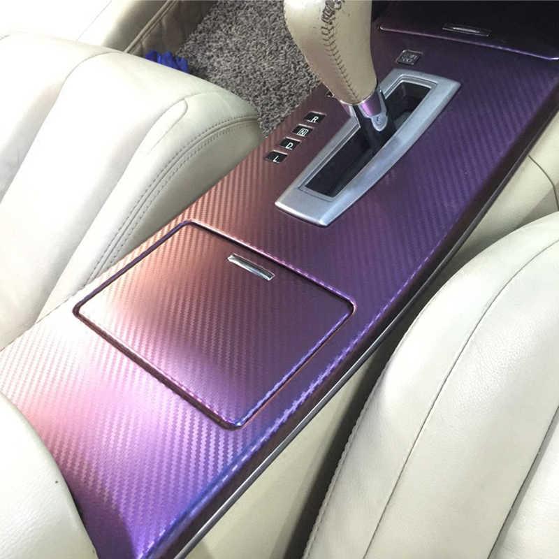 AuMoHall, 30cm x 152cm, envoltura de Película de vinilo de fibra de carbono camaleón, diseño Interior para coche, hoja adhesiva de coche que cambia de Color