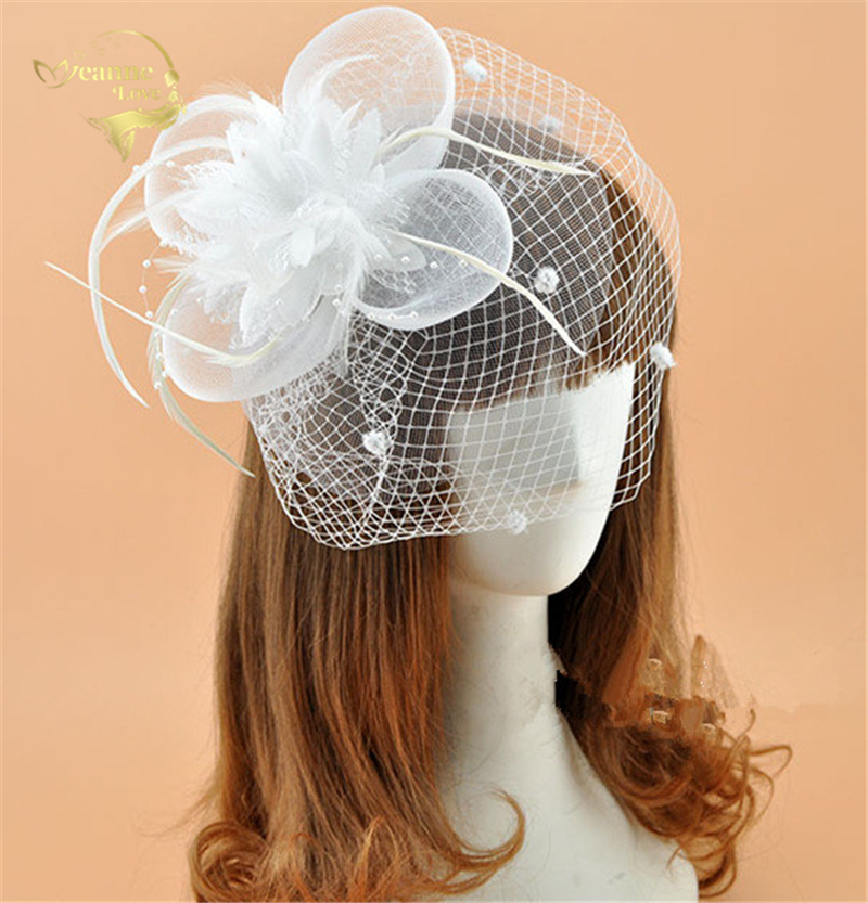 New Design Hot Sale White Black Red Ivory Birdcage Net Wedding Bridal Fascinator Face Veils Feather Flower With Hairpins BC0008