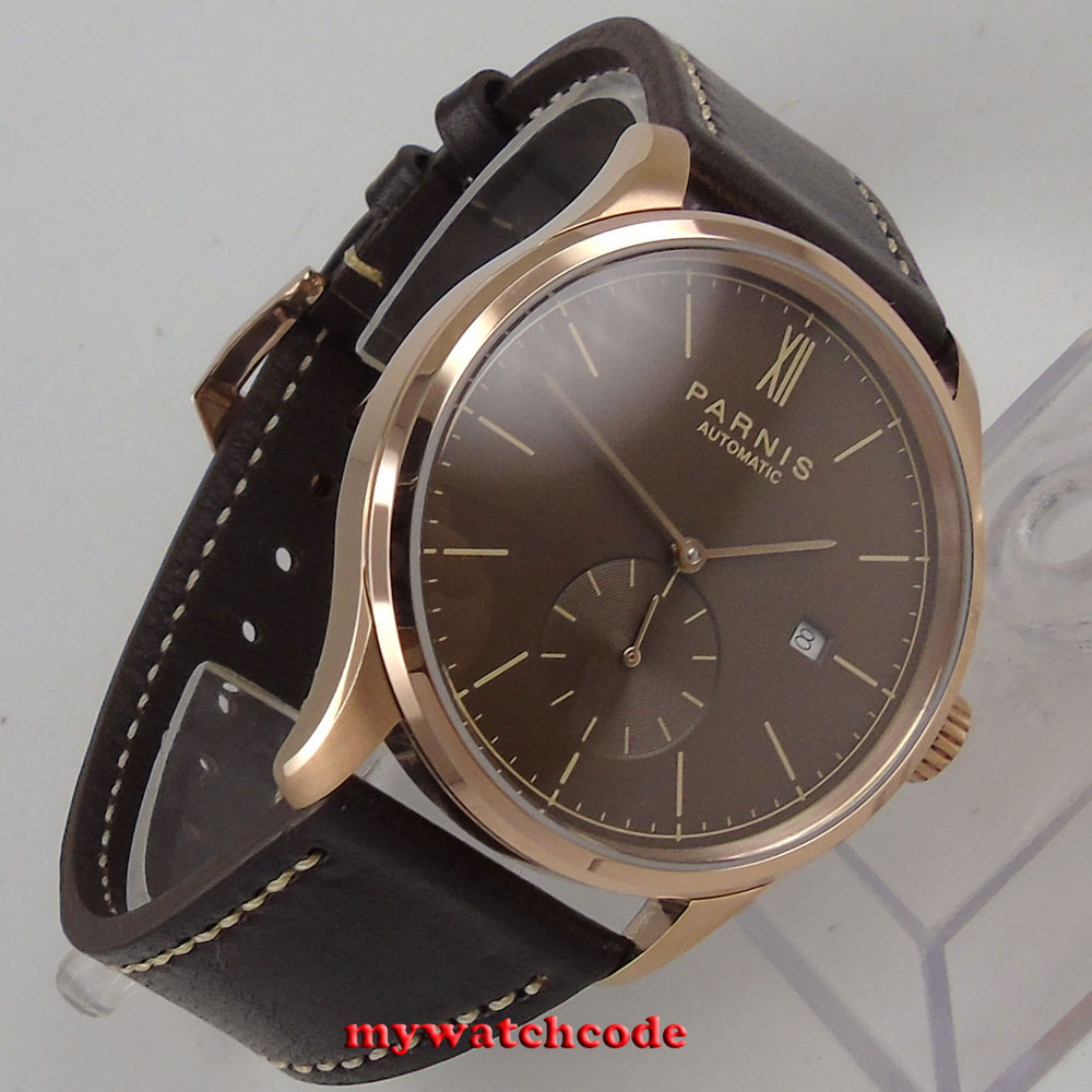 42mm parnis coffee dial rose golden case date window automatic STYLISH MEN watch цена и фото