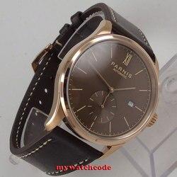 42mm parnis kawa tarcza różowego złota koperta okno daty automatyczny stylowy mężczyzna zegarka|Zegarki sportowe|   -