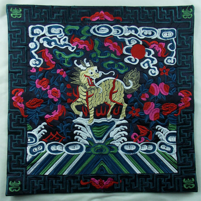 Полная вышивка Кирин чехлы для диванов китайские декоративные подушки высокого класса винтажные этнические рождественские наволочки 45x45 - Цвет: Черный