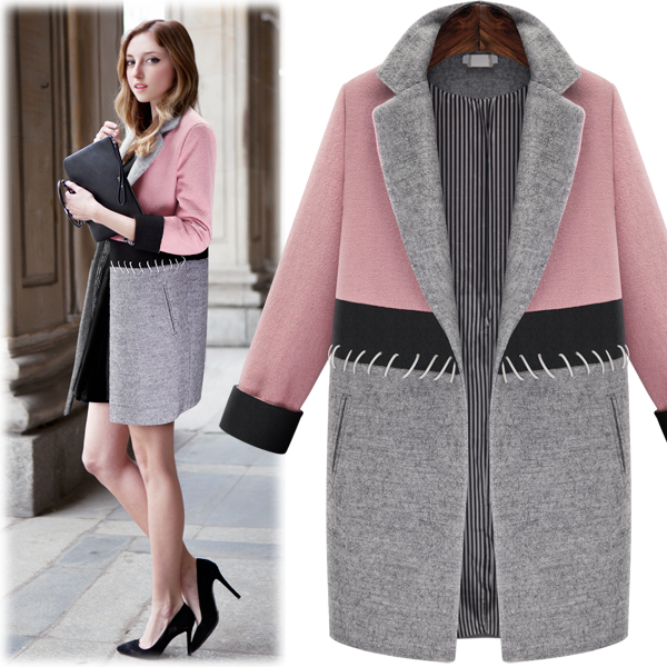 Young Lady Beautiful Plus size Woolen Coats Women Winter Wear Slim ...