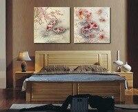 (No frame) realista ainda pinturas da vida dos peixes de koi 2 painel da parede da lona pintura da arte da pintura para o quarto decoração da parede