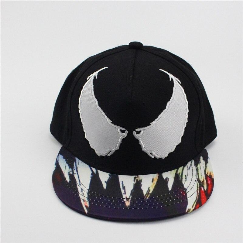 Prix pour Venom spider hip hop chapeaux mâle dames cool plat eaves baseball hottes coton casquette de baseball snapback chapeau