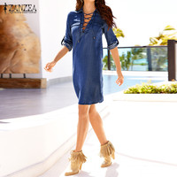 Plus Size 2017 Spring Autumn Vintage Solid Denim Mini Dress ZANZEA Women Casual Loose Lapel Long