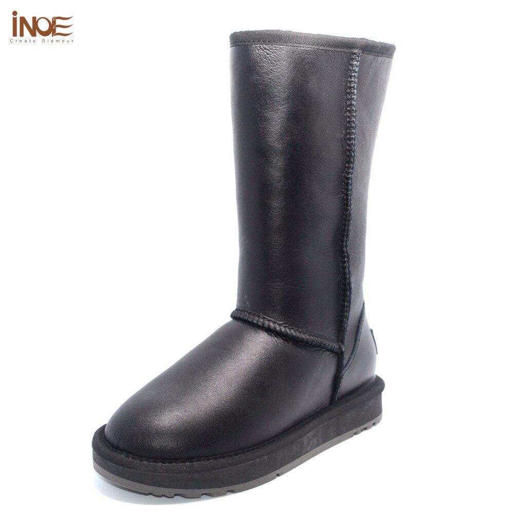 Inoe/Классические из натуральной овечьей кожи овец на меху высокие зимние женская зимняя обувь; зимние сапоги Водонепроницаемые на плоской подошве 35-44; Цвет: черный
