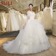SuLi SL-018 Long Sleeve Ball Gown Appliques Wedding Dress