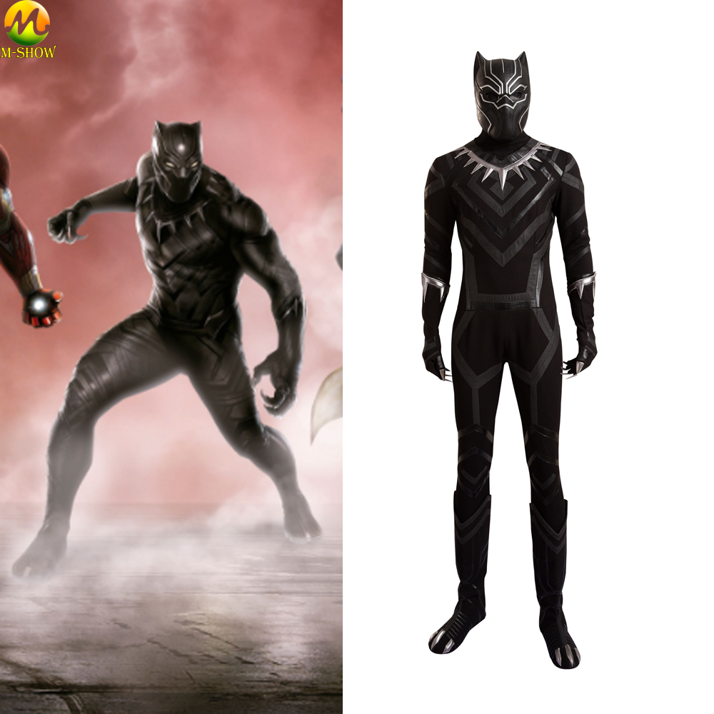 Marvel Movie Captain America 3 Civil War Black Panther Costume Black Panther Cosplay Clothing Halloween Costumes For Men