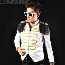 HOT !! Men's fashion new stage singer Black and white with Epaulet royal top – epaulette clothing costume jacket coat / M-XL