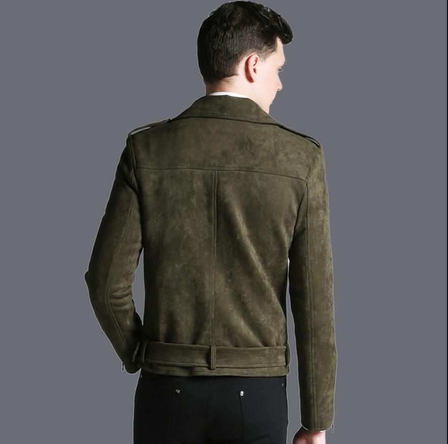 Короткая мужская куртка осень зима, новая модная армейская зеленая замшевая Повседневная куртка с отворотом, мужская верхняя одежда! S 3XL - 5