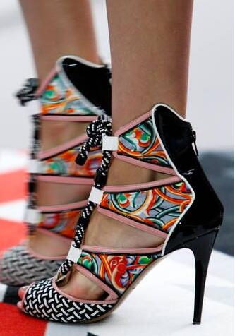 Summer New Women Patent Leather Grid Patchwork Printing Rope Lace Up Cuts out Peep Toe Zip Back Thin Heels Party Sandals Pumps grid pattern rib insert zip up jacket
