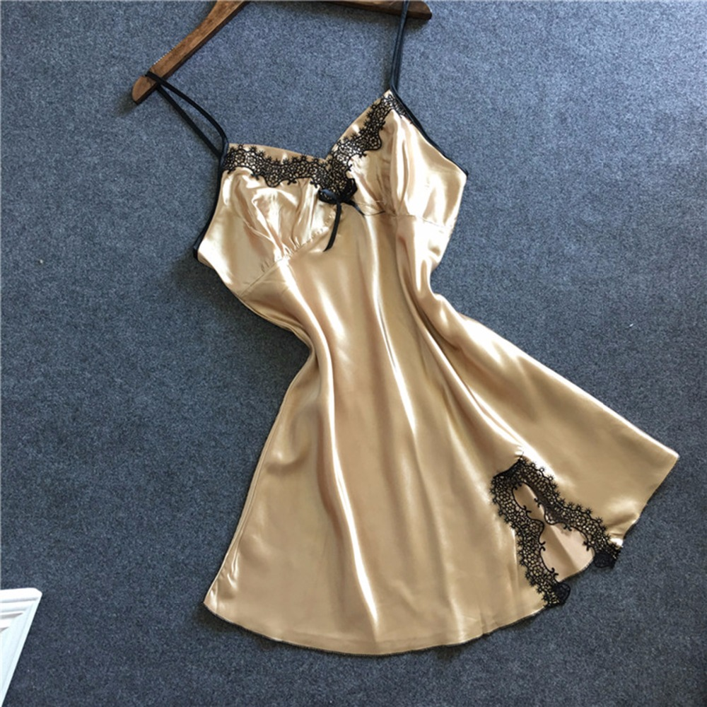 Women Sexy Faux Silk Satin Nightgowns Night Dress Strap Nightgowns V neck Plus Size Lace Sleepwear robe de nuit nuisette femme