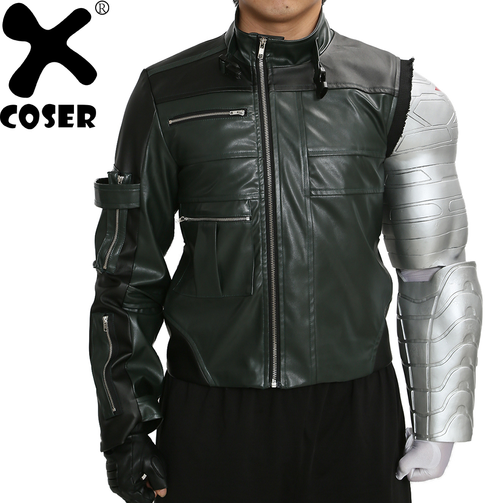 XCOSER Sale Winter Soldier PU Jacket the Hot Movie Captain America 3 Cosplay Costume Men Cool Black Jackets Coat Promotion movie captain america the winter soldier black widow cosplay costume custom made any size