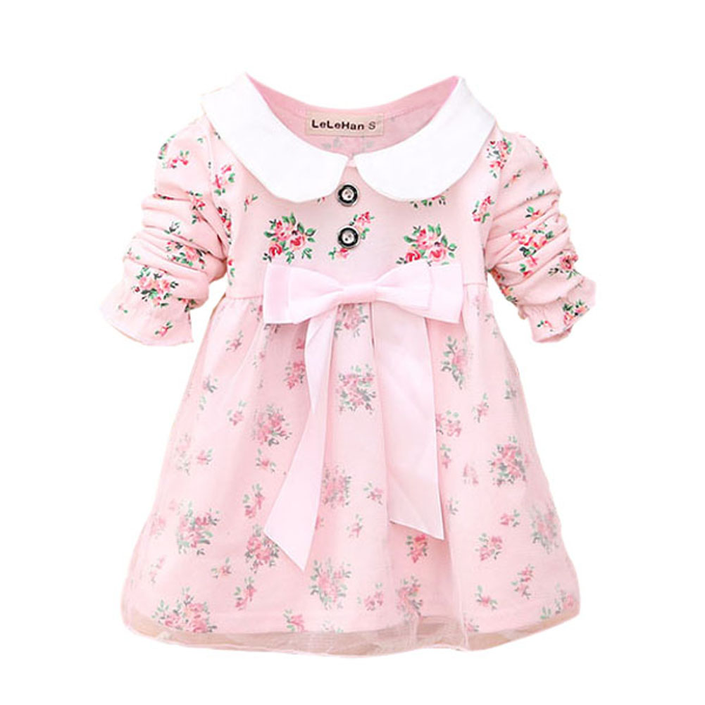 2017 Autumn New Cute Lovely Baby Kids Girls Long Sleeve Floral Dress Big Bowknot Tulle Princess Dresses Children Clothes girls dress kids clothing lovely lolita dress for girls teens princess dresses autumn spring cute children clothes new 70c1004