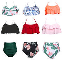 Swimsuit Female Separate Bottom Bikinis 2020 Mujer Ruffle Bikini Tops High Waist Swim Bottoms Panties Women Swimwear Print Pants