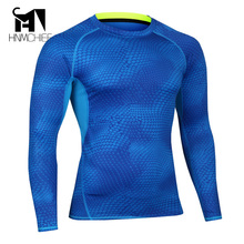 Mens Compression Shirts Bodybuilding Skin Tight MMA Crossfit Exercise Workout Fitness Sportswear Long Sleeves Jerseys Clothings
