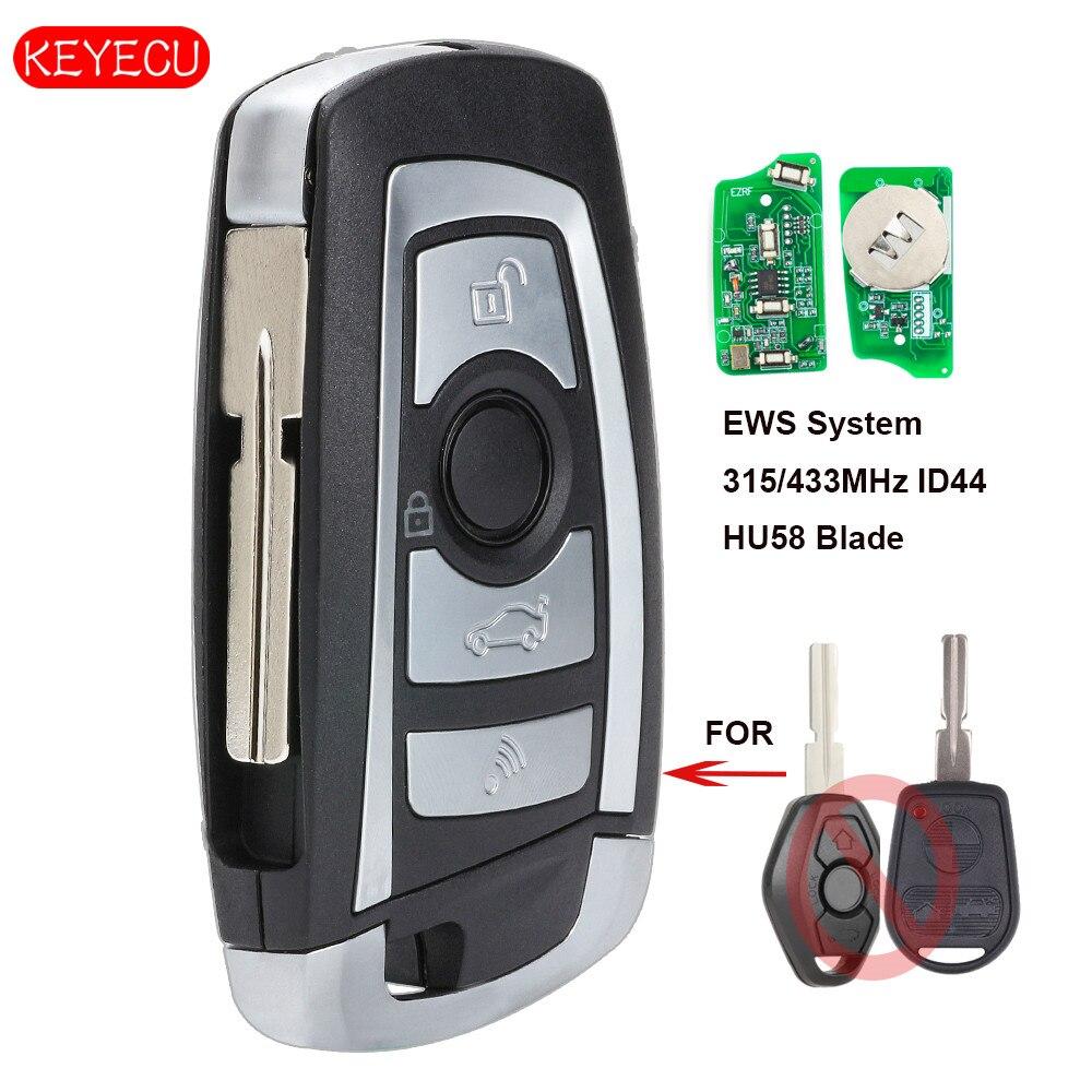 Keyecu ews modificado flip remoto chave 4 botão 315 mhz/433 mhz pcf7935aa id44 chip para bmw e38 e39 e46 m5 x3 x5 z3 z4 hu58/hu92