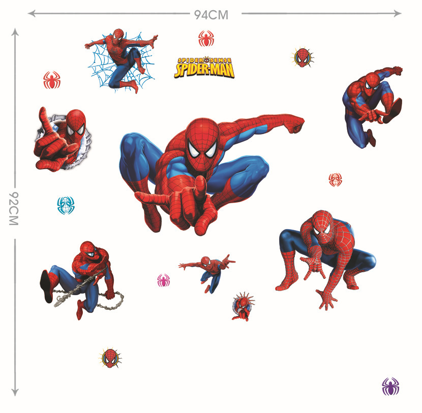 Boys Kids Spider Man Wall Stickers Decals Cartoon Movie Spiderman