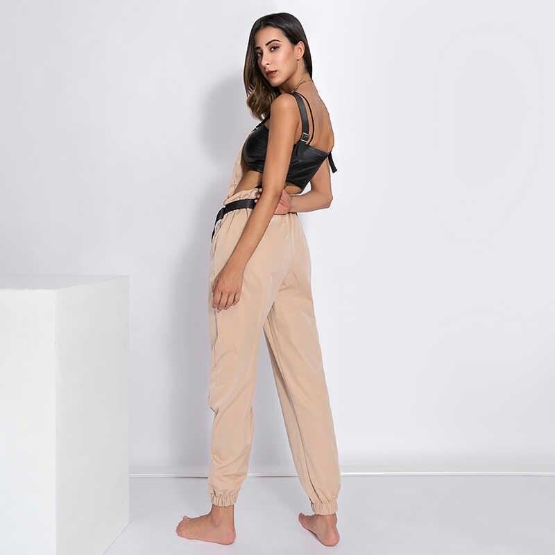 Weekeep женские Модные свободные голени длина широкие брюки комбинезоны 2018 повседневные хлопковые женский комбинезон на бретельках ремень спинки Комбинезоны