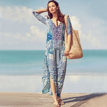 Women Swimsuit Cover Up Sleeve Kaftan Beach Tunic Dress Robe De Plage Cotton Pareo Beach V Collar Cover Up women s woven v neck embroidered cotton tunic swimsuit beach cover up