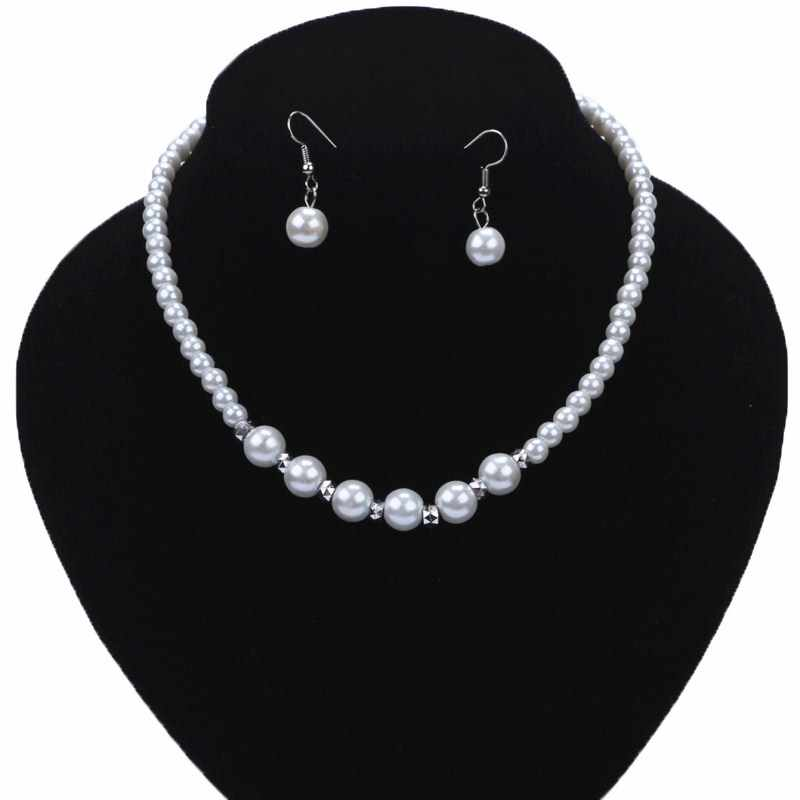 Fashion Charm Imitation Pearl Necklace Red/Black/White/Purple Beads Jewelry Set Bride Wedding Prom Bijoux Wholesale