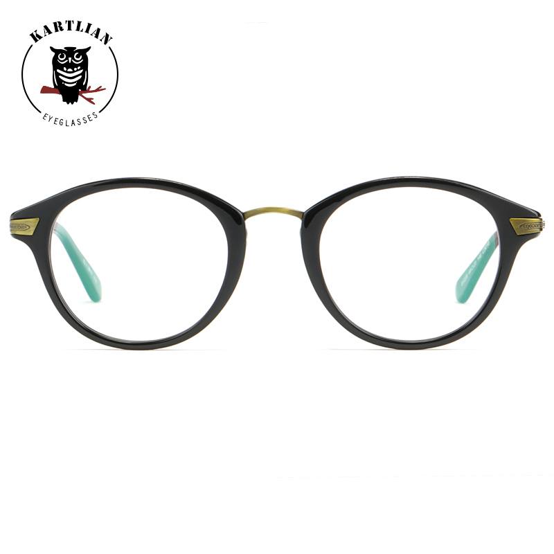 glasses men Kartlian round  optical frame custom prescription glasses women clear lens eyewear lenses Acetate alloy eyeglasses