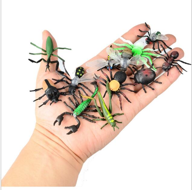 12pcs Children's Toys Gift Chameleon Centipede Spider Beetle Insect Scorpion Toy Animal Collection Models Action Figures children large plastic 3d butterfly dragonfly beetle insect model interesting science activity toys