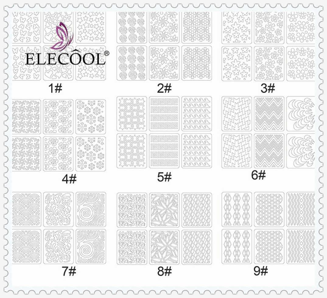 ELECOOL 24/12 יחידות הולוגרפי לייזר חלול מדבקות ציפורניים רדיד עלה אש פורח פרח 3D העברת נייל ארט מדבקות מדבקות
