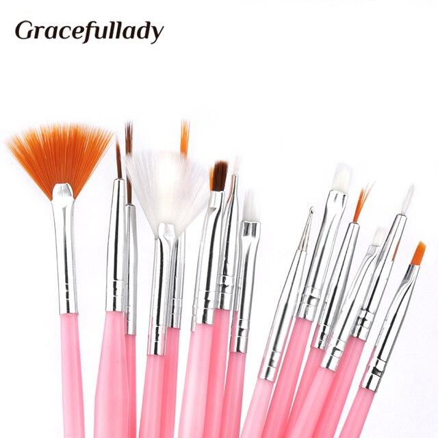 7/15Pcs Plastic Handle Nail Brush Set Design Gel Polish Painting Drawing Acrylic Gel Nail Brushes For Nails Art Manicure Tools 3