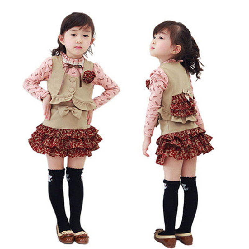 2017 children's Sets clothes girls dress set boutique kids clothing baby girl long costume toddler autumn skirt vest shirt sets