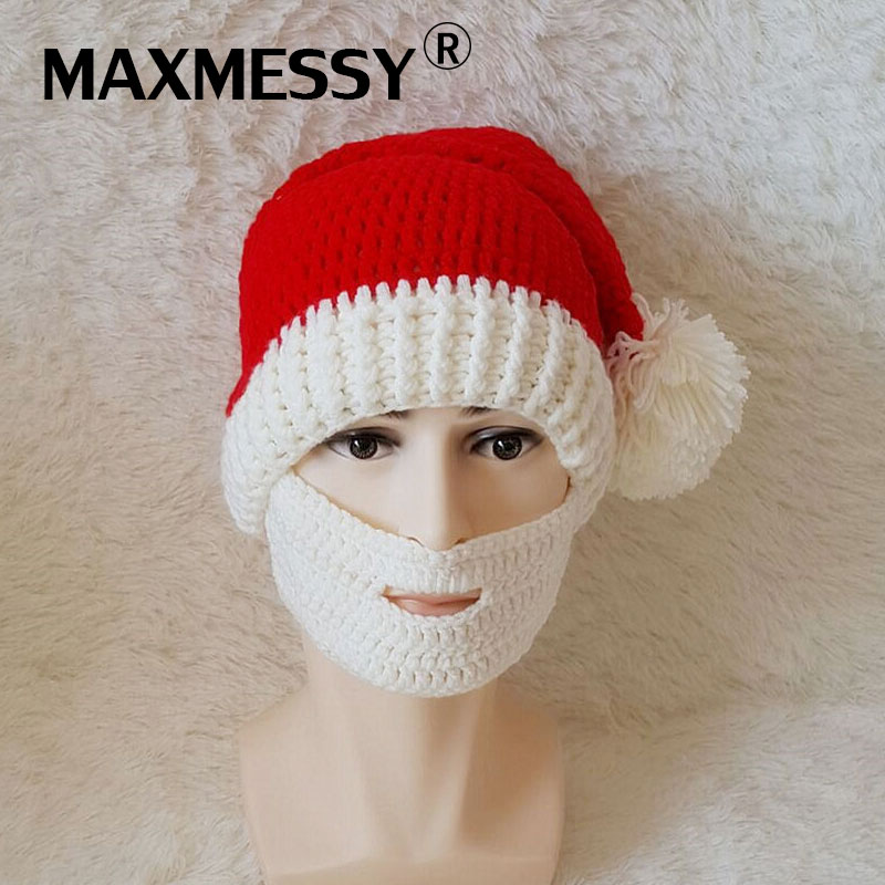 Maxmessy Christmas New Warm Men Knitted Hat Beanie Knit Crochet Cosplay Cap Funny Face Mustache Beard Mask Beanies Gift MH054