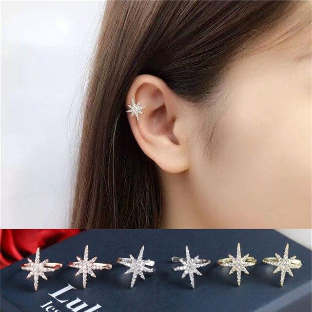 Women Silver Rose Gold Star Ear Cuff Micro Pave CZ Zircon Non Pierced Small Sized Girl.jpg 640x640 - Women Silver&Rose Gold Star Ear Cuff Micro Pave CZ Zircon Non Pierced Small Sized Girl Clip Earring Cuff Korean Earcuff Jewelry