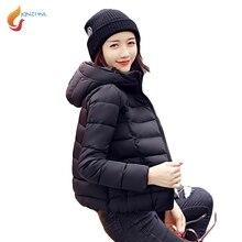 Jqnzhnl Новинка 2017 года осень-зима Пальто для будущих мам теплая Подпушка хлопковые пальто Для женщин Сплошной Цвет короткие Базовые куртки для женщин Тонкий парка с капюшоном L538