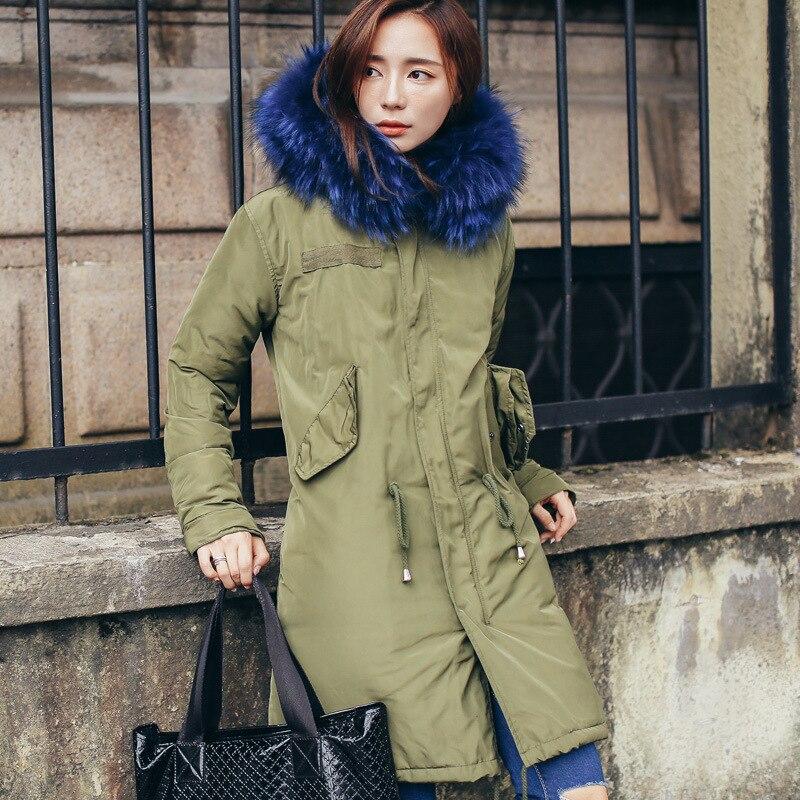 High Quality Big Raccoon Fur   Down   Jackets Winter Medium Length Women's Thicken   Down     Coat   Parkas Snow Outerwear YR48