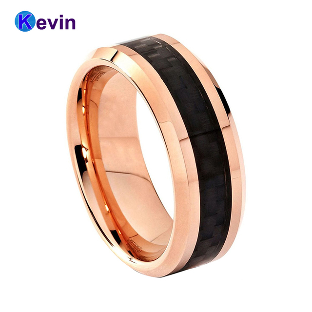 Mens Rose Gold Wedding Band Tungsten Men Ring 8mm With Black Carbon