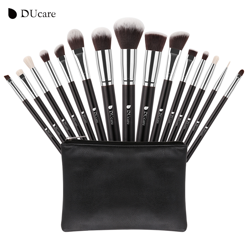 DUcare New 15 Pcs Makeup Brushes Set Professional Synthetic Hair Goat Hair Cosmetics Kit Make Up Brush with Bag Free Shipping 23 pieces professional versatile portable makeup brush set cosmetics brushes kit make up maquillaje with grass green pouch bag
