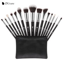 DUcare New 15 Pcs Makeup Brushes Set Professional Synthetic Hair Goat Hair Cosmetics Kit Make Up Brush with Bag Free Shipping