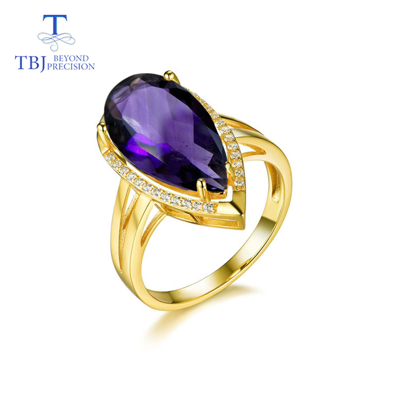TBJ,Natural Africa amethyst gemstone pear 8*10mm 5.3ct Rings 925 sterling silver simple shiny jewelry for women girls daily wearTBJ,Natural Africa amethyst gemstone pear 8*10mm 5.3ct Rings 925 sterling silver simple shiny jewelry for women girls daily wear
