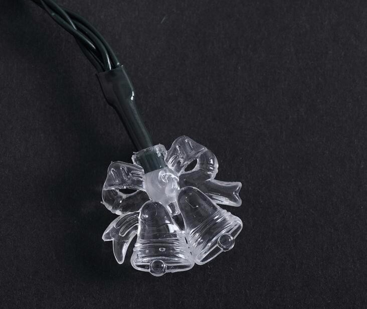 2pcs Solar Power LED Bell Bells Lamp Light multicolour String Strap For Garland Wedding Christmas Venue Decoration