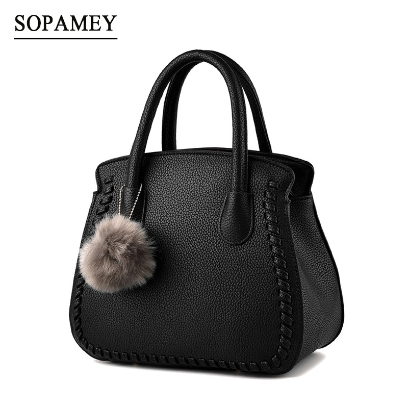 2018 Fashion Ladies Hand Bag Womens PU Leather Handbag Black Leather Tote Bag Hobos Bolsas femininas Female Shoulder Bag