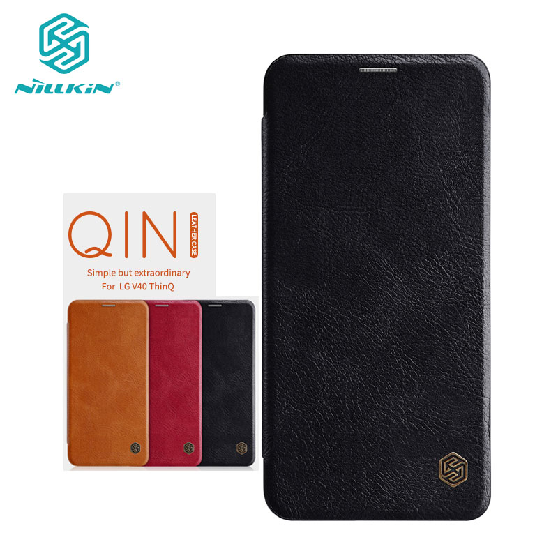 Case For LG V40 Thinq 6.4'' Qin Series PU Leather Flip Cover Sfor LG V40 Thinq Case