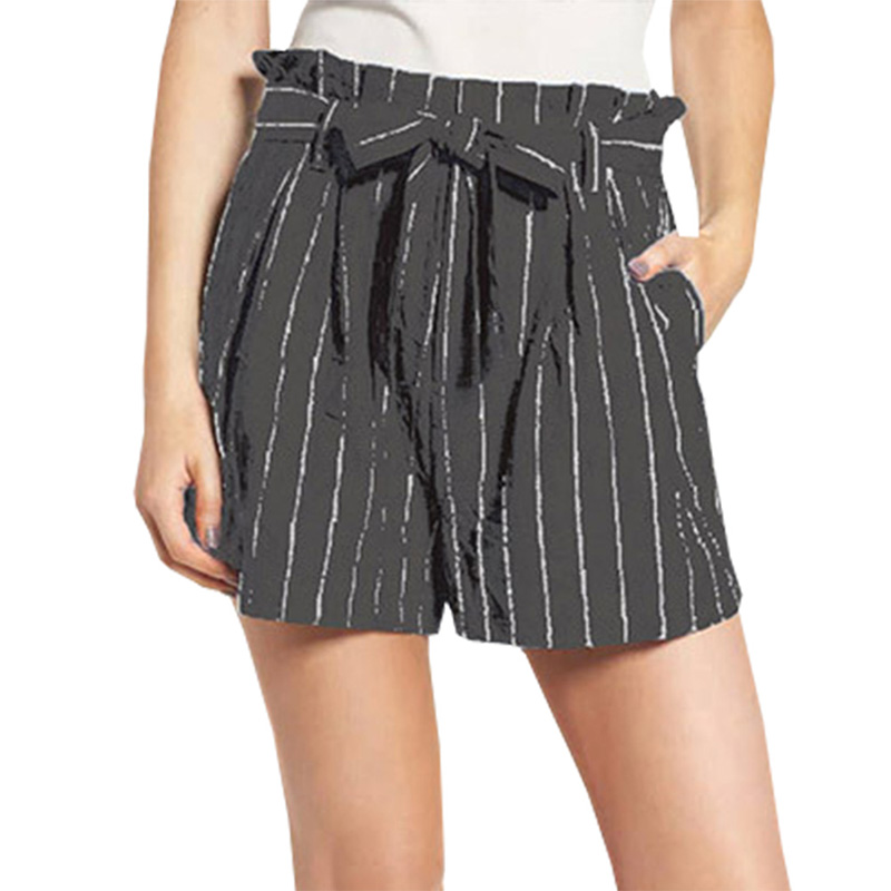 Women Stripe Print  Elastic Short Shorts Wide Leg Beach Trousers New Fashion Women's Sexy Summer Shorts