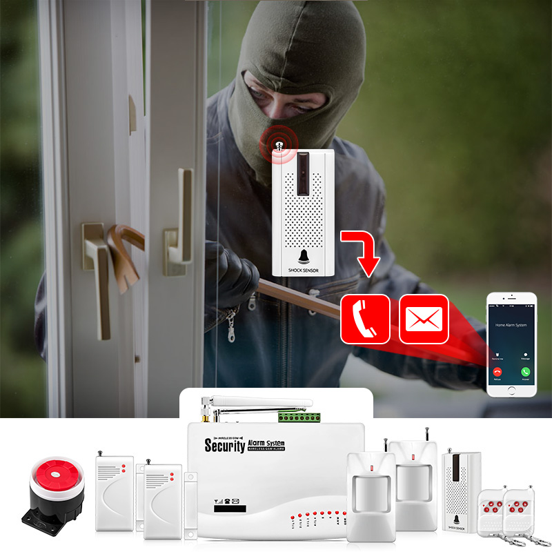 Купить с кэшбэком FUERS Wireless GSM10A APP Control Alarm System Home Garage Motion Sensor Russia/English/Spanish Voice Security Auto Dial DIY Kit