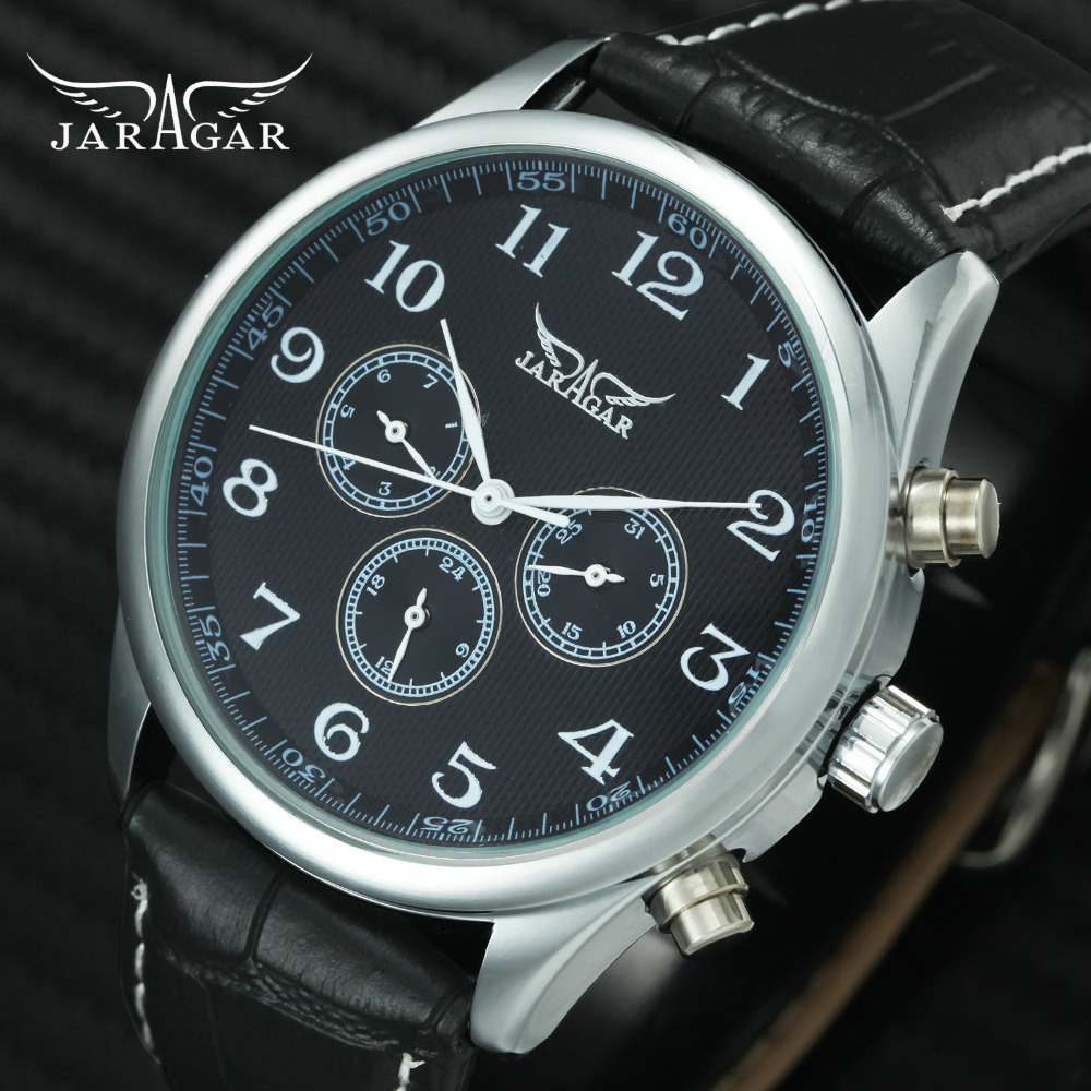 JARAGAR New Fashion Casual Men Mechanical Watch Men 3 Sub-dials 6 Hands Business Automatic Mens Watches Top Brand Luxury JARAGAR New Fashion Casual Men Mechanical Watch Men 3 Sub-dials 6 Hands Business Automatic Mens Watches Top Brand Luxury