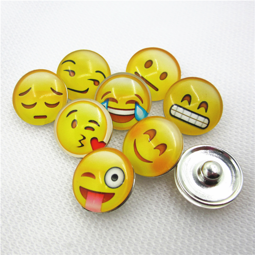 50pcs/lot Mix Glass expression face snap buttons 18mm ginger button snap pendant/bracelet charms diy snap jewelry