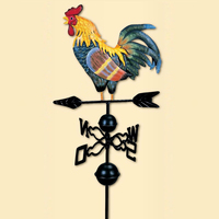 European traditional Painted Cock Wind Vane Flower Insert Country Style Classic For Family Garden Decoration