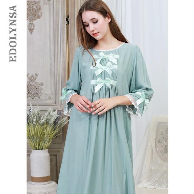 94568c2c9d Green Cotton Bowknot Lace Night Dress Autumn Sleepwear Women Nightgown Long  Nightdress Plus Size Nightwear Ladies Homewear T325